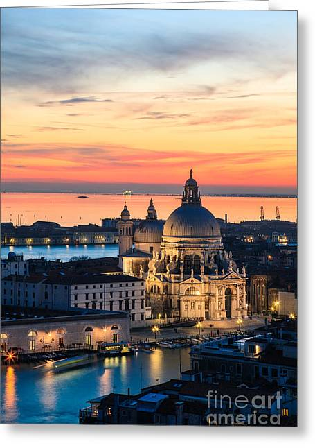 Cupola Greeting Cards - Sunset over Venice - Italy Greeting Card by Matteo Colombo