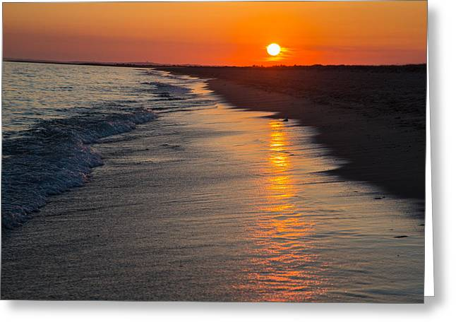 Sunset Over Vineyard Sound Greeting Card by Allan Morrison