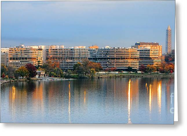 Evening Lights Greeting Cards - Sunset over Watergate Greeting Card by Olivier Le Queinec