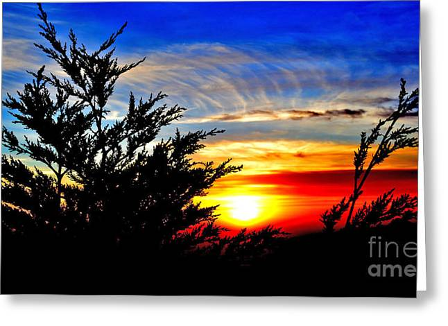 Sunset Overlooking Pacifica Ca Vi Greeting Card by Jim Fitzpatrick