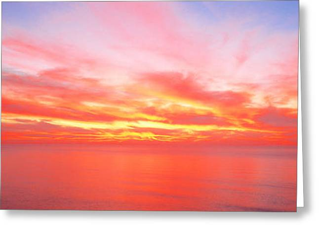 Colorful Photography Greeting Cards - Sunset Pacific Ocean, California, Usa Greeting Card by Panoramic Images