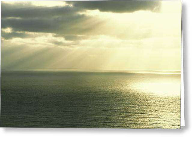 Grey Clouds Greeting Cards - Sunset Pacific Ocean San Diego Ca Usa Greeting Card by Panoramic Images