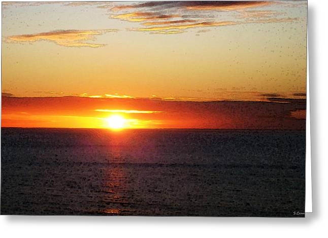 Sunrise On Beach Greeting Cards - Sunset Painting - Orange Glow Greeting Card by Sharon Cummings