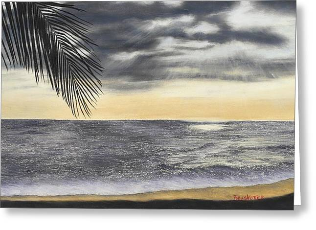 Ocean Shore Pastels Greeting Cards - Sunset Palm Greeting Card by Angela Bruskotter