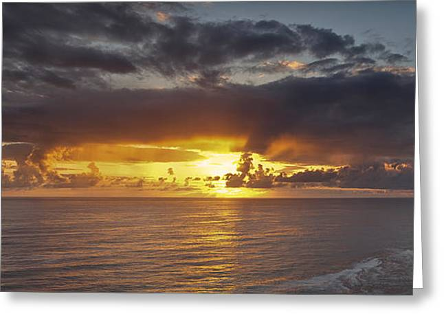 Ocean Art Photographs Greeting Cards - Sunset Panorama Greeting Card by Andrew Soundarajan
