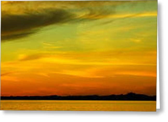 Hamlin Lake Greeting Cards - Sunset Panorama Greeting Card by Derek Bacigal