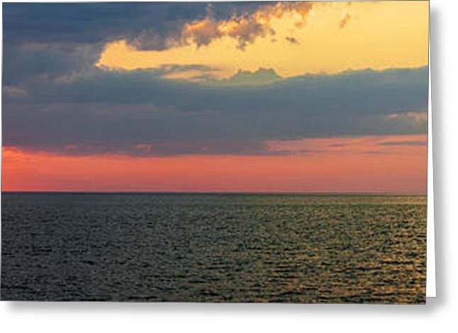 Ocean Panorama Greeting Cards - Sunset panorama over Atlantic ocean Greeting Card by Elena Elisseeva