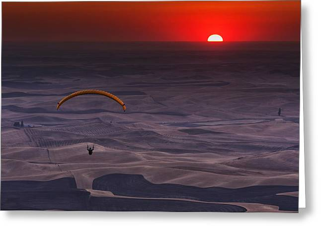Descend Greeting Cards - Sunset Paragliding Greeting Card by Mark Kiver