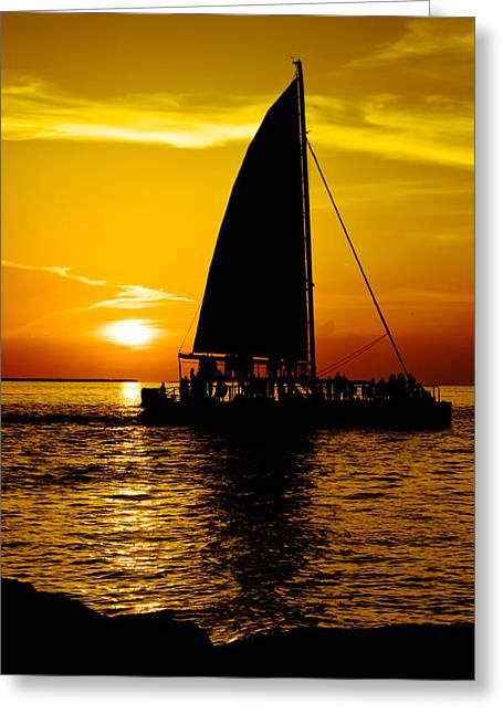 Florida Keys Greeting Cards - Sunset Party Boat Greeting Card by Vaughn Garner