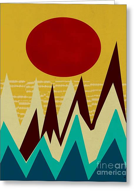 Mountain Climbing Greeting Cards - Sunset Peaks Greeting Card by Bri Buckley