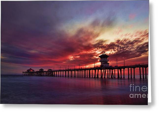 Southern California Sunset Beach Greeting Cards - Sunset Greeting Card by Peter Dang