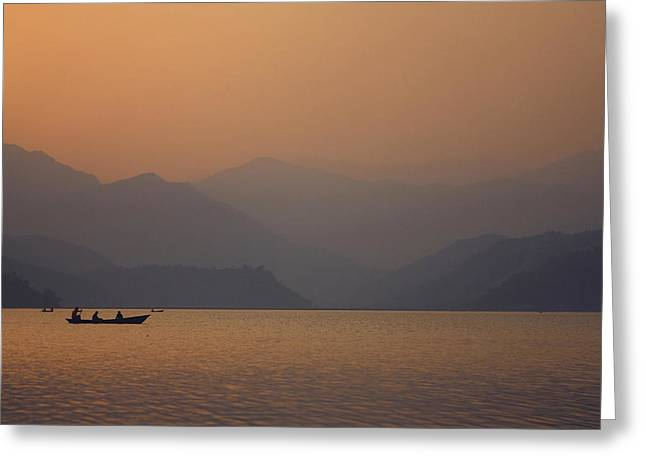 Hiking Sculptures Greeting Cards - Sunset - Phewa Lake in Nepal Greeting Card by Anastasiia Kononenko