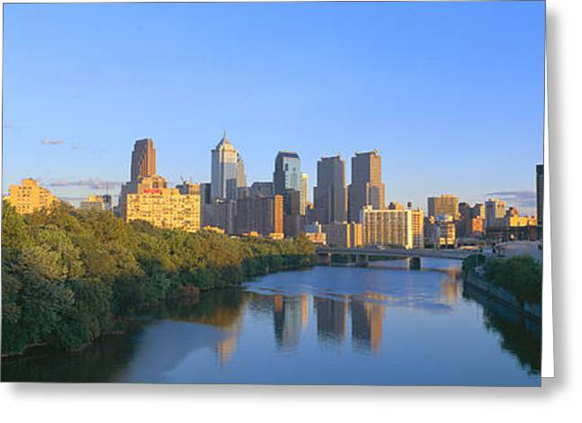 Body Of Water Greeting Cards - Sunset, Philadelphia, Pennsylvania Greeting Card by Panoramic Images