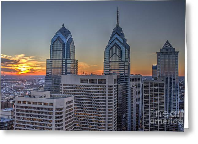 Williams Dam Greeting Cards - Sunset Philly Greeting Card by Mark Ayzenberg