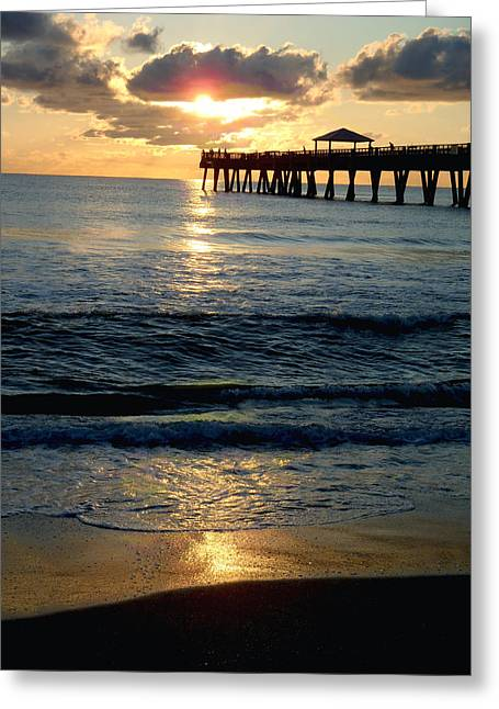 Captiva Greeting Cards - Sunset Pier Greeting Card by Carey Chen