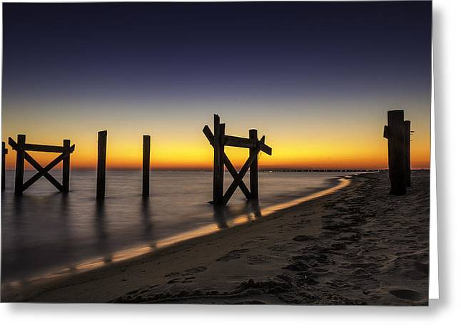 Beach Photography Pyrography Greeting Cards - Sunset Pier Greeting Card by CJ Bryant
