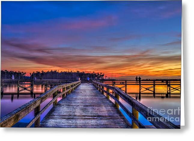 Wooden Dock Greeting Cards - Sunset Pier Fishing Greeting Card by Marvin Spates