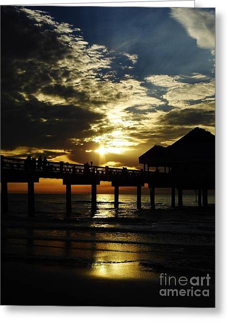 Reflection Of Sun In Clouds Greeting Cards - Sunset Pier Reflection Greeting Card by D Hackett