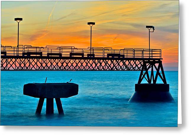 Dazzling Blue Greeting Cards - Sunset Pier Greeting Card by Frozen in Time Fine Art Photography