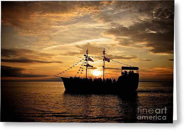 Black Pearls Greeting Cards - Sunset Pirate Cruise Greeting Card by Mark Miller