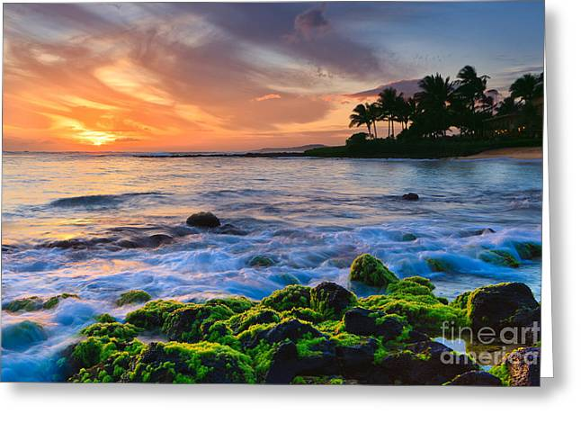 Pacific Ocean Prints Greeting Cards - Sunset Poipu Beach - Kauai Greeting Card by Henk Meijer Photography