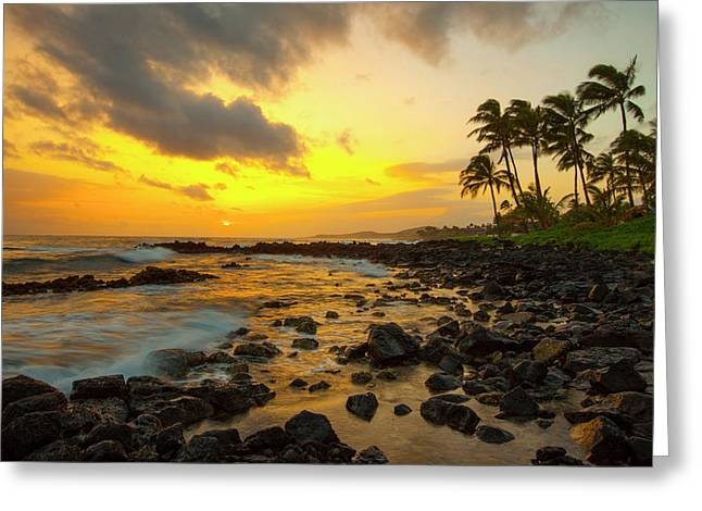 Sunset, Poipu, Kauai, Hawaii Greeting Card by Douglas Peebles
