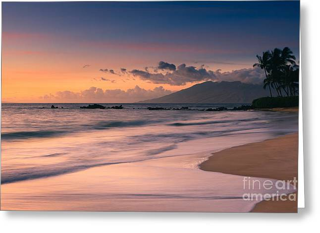 Warm Colours Greeting Cards - Sunset Poolenalena Beach - Maui Greeting Card by Henk Meijer Photography