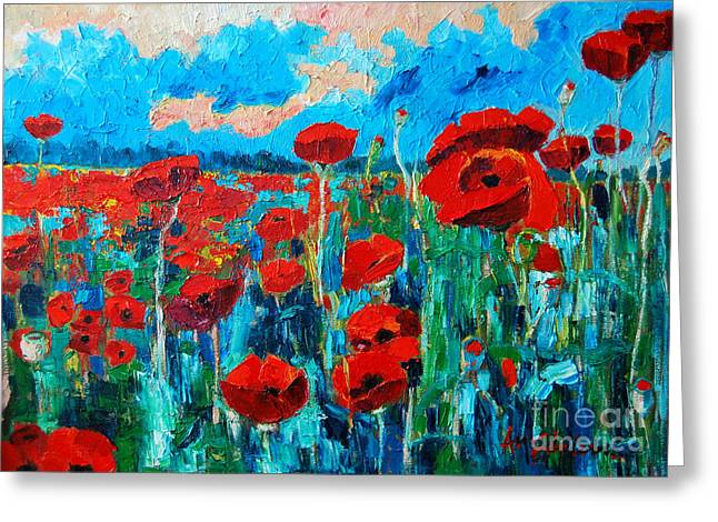 Sunset Greeting Cards Greeting Cards - Sunset Poppies Greeting Card by Ana Maria Edulescu
