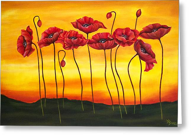 Bucci Paintings Greeting Cards - Sunset Poppies Greeting Card by Debra Bucci