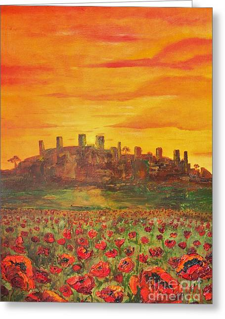 Sunset Poppies Greeting Card by Jodi Monahan