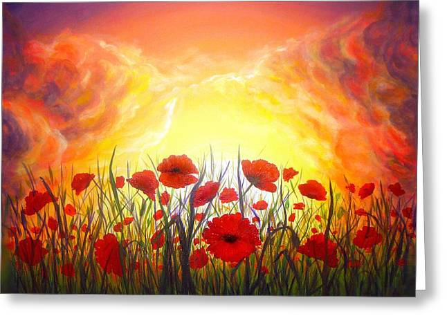 Hand Made Paintings Greeting Cards - Sunset Poppies Greeting Card by Lilia D