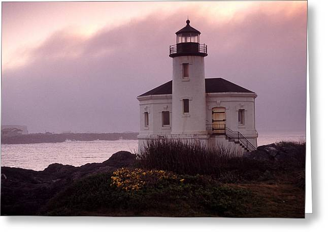 Joe Klune Greeting Cards - Sunset portrait of the Coquille river lighthouse Greeting Card by Joe Klune