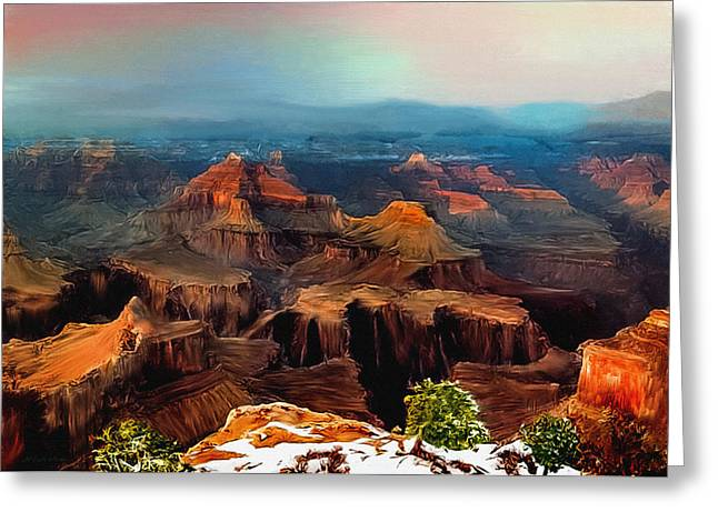 Amazing Sunset Greeting Cards - Sunset Powell Memorial Grand Canyon South Rim Greeting Card by  Bob and Nadine Johnston