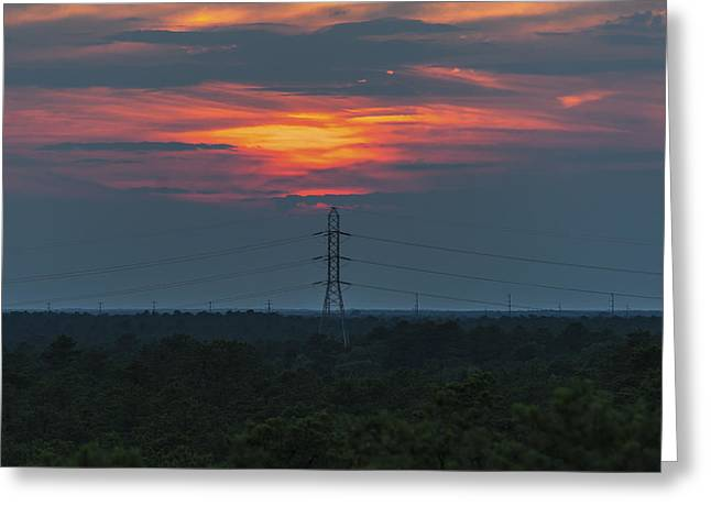 Bathroom Prints Greeting Cards - Sunset Power Over Pine Barrens NJ Greeting Card by Terry DeLuco