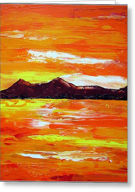 Coppery Greeting Cards - Sunset Greeting Card by Prajakta P