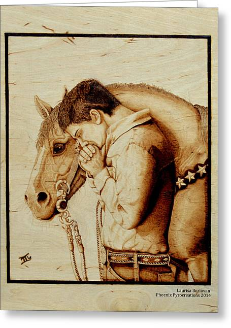 Gear Pyrography Greeting Cards - Sunset Prayer Greeting Card by Laurisa Borlovan
