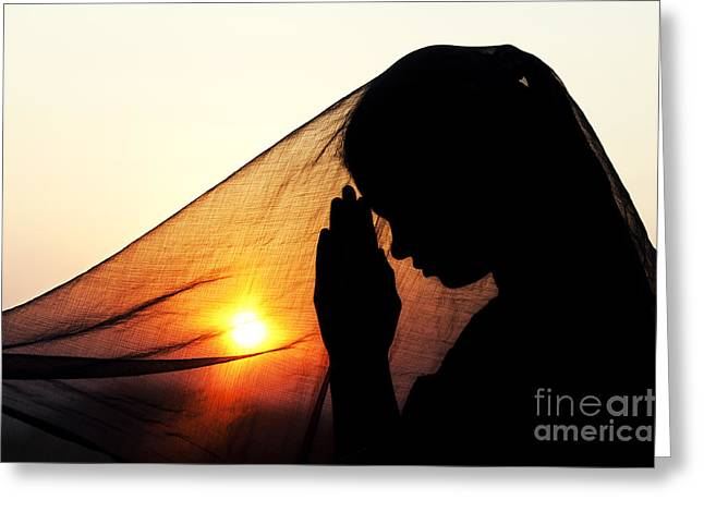 Girl Greeting Cards - Sunset Prayers Greeting Card by Tim Gainey