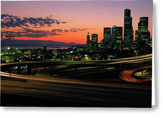 Roadway Greeting Cards - Sunset Puget Sound & Seattle Skyline Wa Greeting Card by Panoramic Images