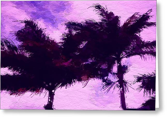 Sunset Framed Prints Mixed Media Greeting Cards - Sunset purple palm tree Greeting Card by Anthony Fishburne