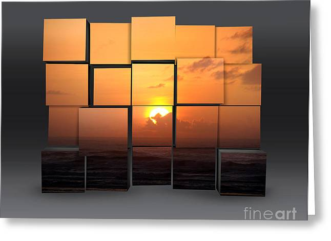 Sunset Posters Greeting Cards - Sunset Puzzle Art Greeting Card by Beverly Guilliams