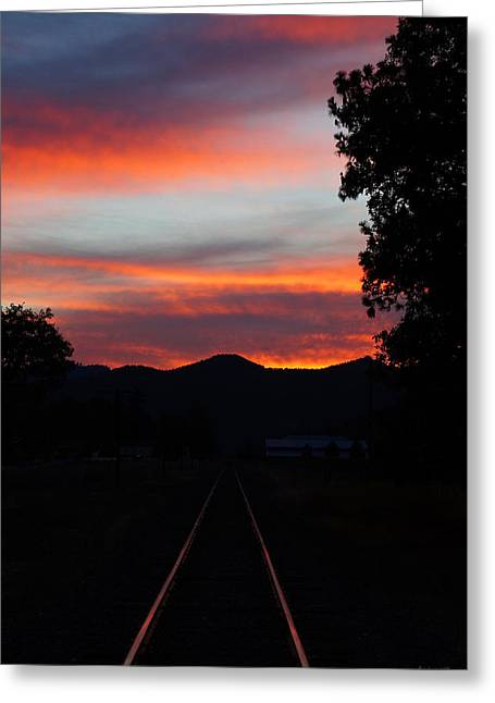 Mick Anderson Greeting Cards - Sunset Rail in the Rogue Valley Greeting Card by Mick Anderson