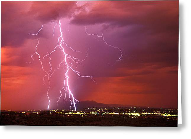 Sunset Rainstorm As Seen Greeting Card by Thomas Wiewandt