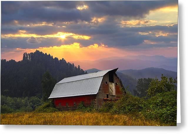 Foggy Beach Greeting Cards - Sunset Ranch Greeting Card by Debra and Dave Vanderlaan