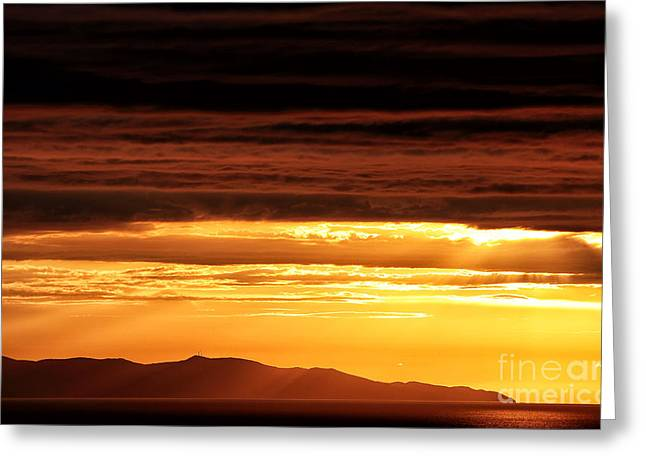 Sunset Posters Greeting Cards - Sunset Rays at Mykonos Greeting Card by John Rizzuto