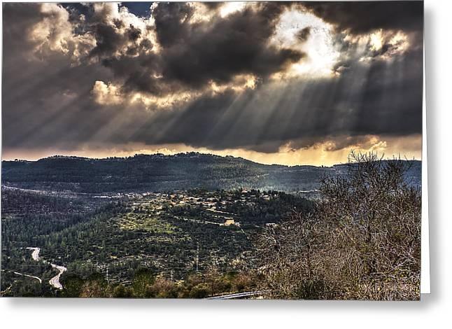 Isaac Silman Greeting Cards - Heavens lights over Jerusalem Greeting Card by Isaac Silman
