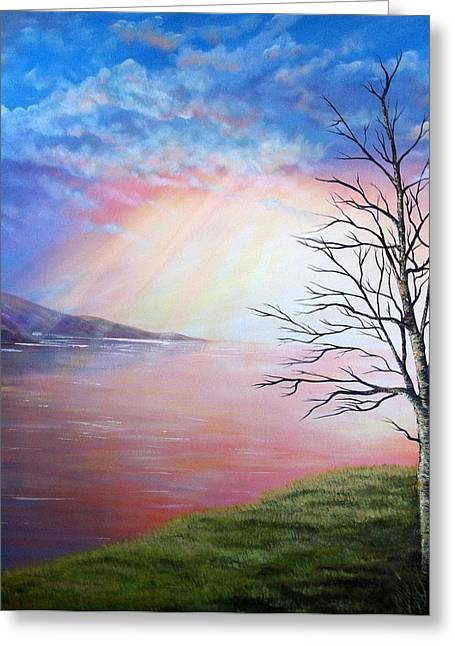 Sun Rays Paintings Greeting Cards - Sunset Rays Over Water Greeting Card by Joan Ashcroft