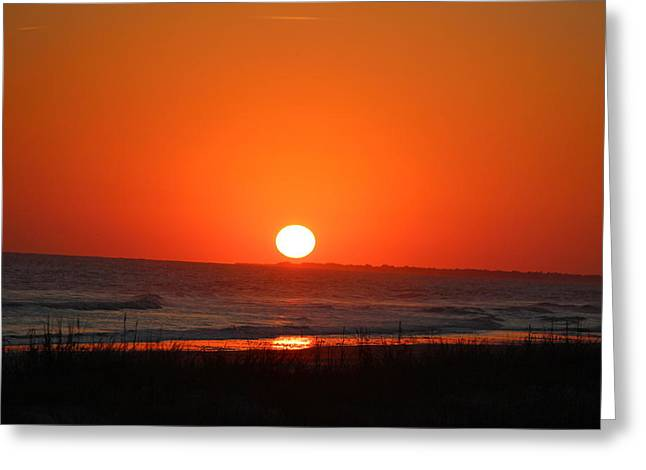 Sunset Red Greeting Card by Rosanne Jordan
