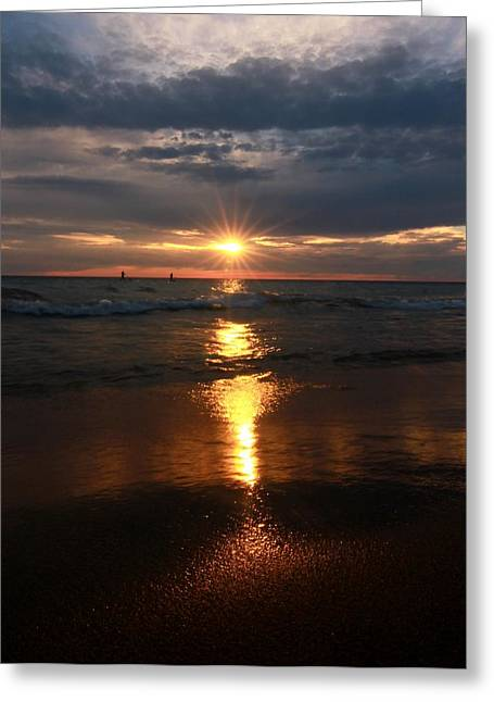 Sunset Reflection On Lake Michigan Greeting Card by Dan Sproul