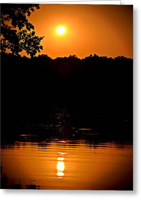 Fishing Boats Greeting Cards - Sunset Reflection Greeting Card by Sennie Pierson