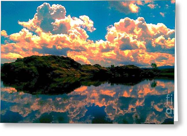 Prescott Pyrography Greeting Cards - Sunset Reflection Greeting Card by Stephen Schwartzengraber